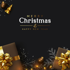 Christmas Background. Xmas design of sparkling lights garland, realistic brown gifts box, black snowflake and glitter silver confetti. New year poster, greeting cards, banner. Stylish dark composition