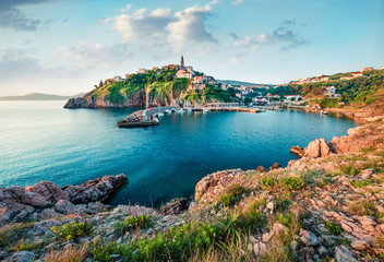 Foto auf Leinwand Pool Sunny morning cityscape of Vrbnik town. Romantic summer seascape of Adriatic sea, Krk island, Kvarner bay archipelago, Croatia, Europe. Beautiful world of Mediterranean countries.