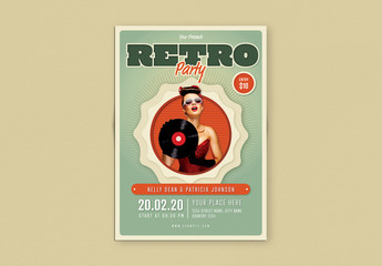 Retro Flyer Layout with Red and Green Accents