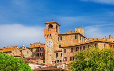 Passignano on the Trasimeno lake medieval historic center with ancient clocktower in Umbria