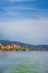 View of Passignano on the Trasimeno in Umbria from the lake