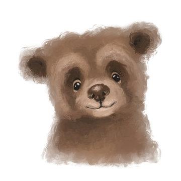 Cute hand drawn bear, woodland watercolor animal portrait