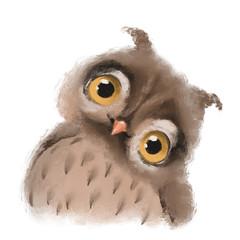 Canvas Prints Owls cartoon Cute hand drawn owl forest bird, woodland watercolor animal portrait