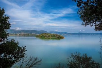 View of  LakeTrasimeno in Umbria from Isola Maggiore