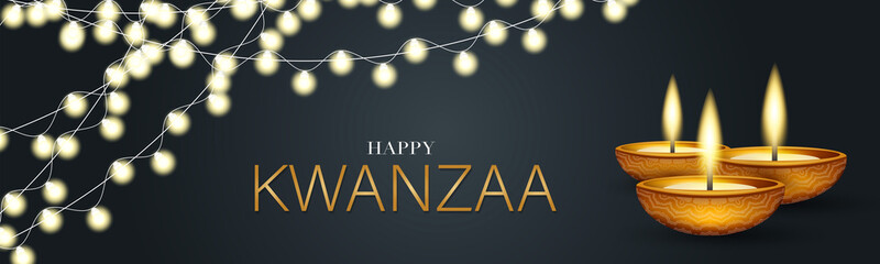 Happy Kwanzaa banner. Website or newsletter header. Traditional holiday design concept with glowing lights garland and candles. Vector illustration.