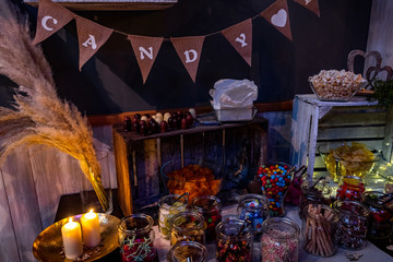 candy bar decorated with sweets