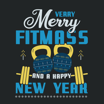 Funny Christmas graphic print, t shirt design for ugly sweater xmas party. Holiday decor with text - Very Merry Fitmass and Happy New Year with ornaments. Fun typography tee template. Stock vector