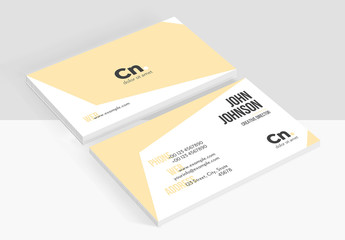 Business Card Layout  with Modern Shape Elements