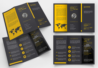 Black Trifold Brochure Layout with Yellow Accents