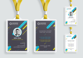 ID Card Layout with Colorful Elements