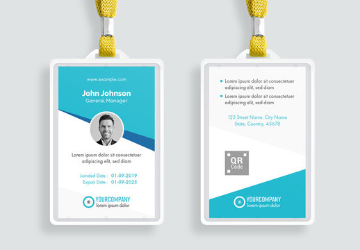 Id Card Layout with Blue Accents