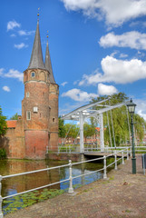 Oostpoort gate and draw bridge in Delft, Holland
