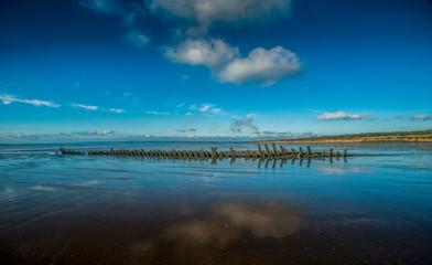 Printed roller blinds Shipwreck Portuguese Man-of-war Ship wreck Cefn Sidan Beach