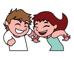 children smiling on white background