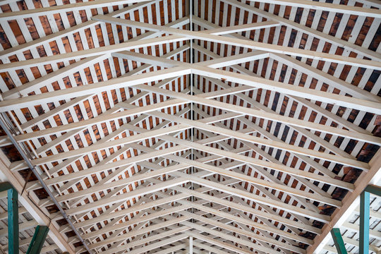 an interesting wood roof