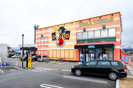 Takayama, Japan - April 7, 2019: Video games store shop of Sega World with sign and entrance facade in Gifu prefecture
