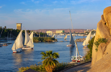 Beautiful landscape with felucca boats on Nile river in Aswan at sunset, Egypt Wall mural