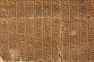 Fototapeta ancient egypt hieroglyphics on wall in karnak temple obraz