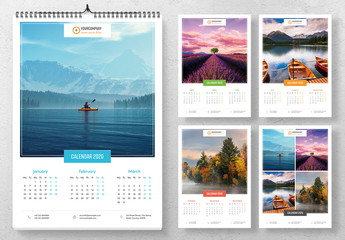 Wall Calendar Layout with Colorful Elements