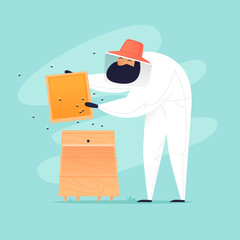 Beekeeper takes honeycomb from hive. Flat design vector illustration.