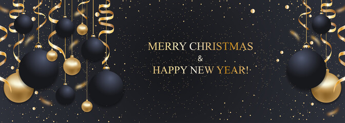 Christmas dark blue background with Christmas balls and golden ribbons. Happy New Year decoration. Elegant Xmas banner or poster. Vector