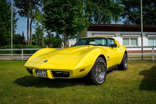PAAREN IM GLIEN, GERMANY - MAY 19, 2018: Sports car Chevrolet Corvette Stingray Coupe, 1976.