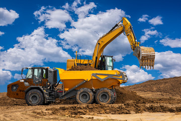 Excavator on a construction site
