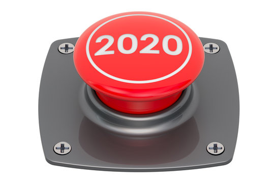 2020 Red Push Button, 3D rendering