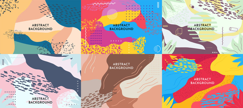 Set of 6 pop art style backgrounds. Vector abstract illustration. Wallpapers  collection. Website template pack.  Fluid and liquid design with dots. Color Memphis pattern. Fashion 80-90s.Retro graphic