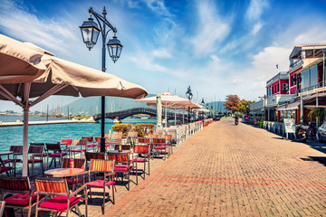Attractive morning cityscape of Lefkada, capital of Lefkada island, Greece, Europe. Marvelous summer seascape of Ionian Sea. Traveling concept background. Fotomurales