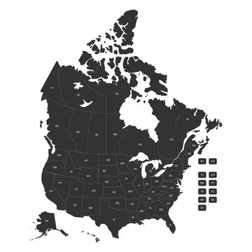Regional map of USA states and Canada provinces vector