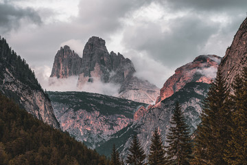 Panoramic view of the Tre Cime di Lavaredo, Dolomites