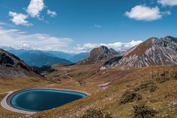 reservoir in the mountains, South Tyrol. Merano 2000.