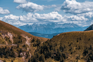 Panoramic view of the Dolomites in autumn