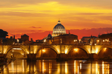 Sunset view of the Vatican with Saint Peter's Basilica,Rome, Italy.
