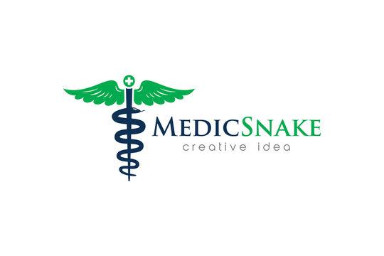 Creative Medical Snake Concept Logo Design Template