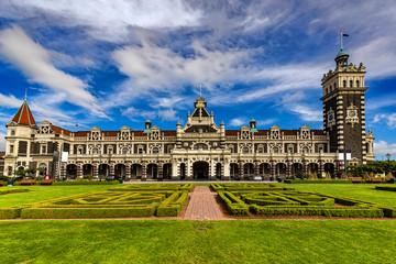 New Zealand, South Island. Dunedin. The Dunedin Railway Station in 'Gingerbread House' style