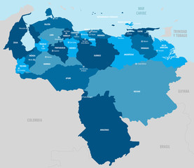 Venezuela map. Vector map in blue tones with separated provinces, departments and capital cities.