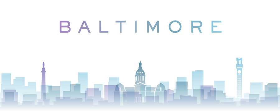 Baltimore Transparent Layers Gradient Landmarks Skyline