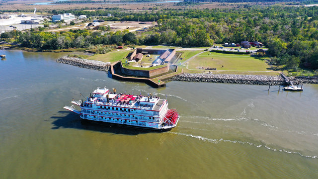 Ferry Boat and Fort Jackson in Savannah, GA