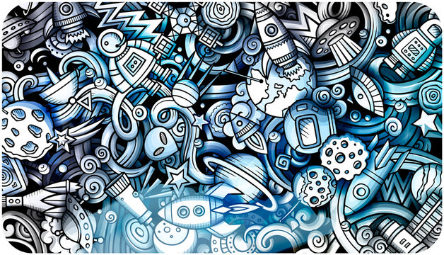 Space hand drawn doodle banner. Cartoon detailed illustrations.