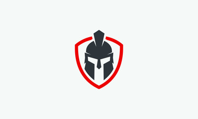 shield and helmet of the Spartan warrior symbol, emblem. Spartan helmet logo, vector illustration of spartan shield and helm, Spartan Greek gladiator helmet armor flat vector icon