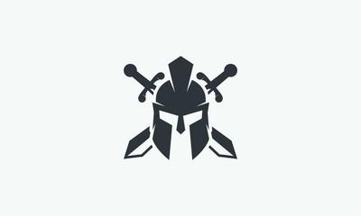 Wreath, swords and helmet of the Spartan warrior symbol, emblem. Spartan helmet logo, vector illustration of spartan crossed sword and helm, Spartan Greek gladiator helmet armor flat vector icon