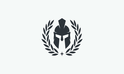 Wreath and helmet of the Spartan warrior symbol, emblem. Spartan helmet logo, illustration of spartan, Spartan Greek gladiator helmet armor flat vector icon