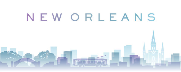 New Orleans Transparent Layers Gradient Landmarks Skyline Fotomurales