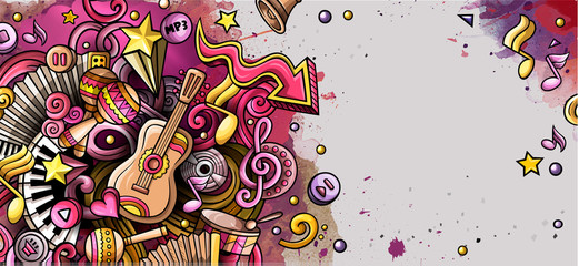 Music hand drawn doodle banner. Cartoon detailed illustrations.