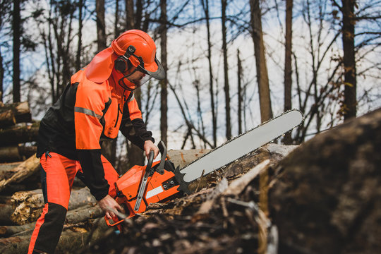 A chainsaw operator with a big orange chainsaw and wearing protective equipment