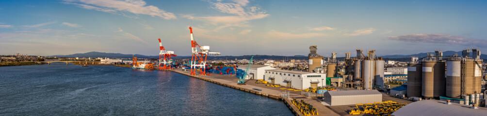Wall Murals Cappuccino Panoramic view of the port and cruise terminal of Kanazawa, Japan.