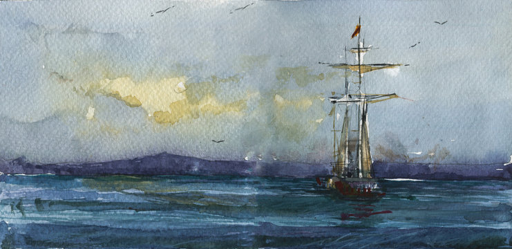 Sailboat in sea hand drawn watercolor illustration