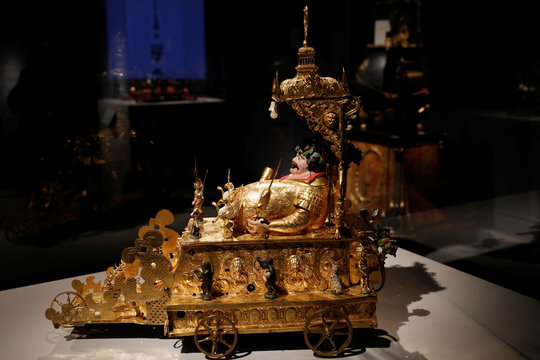 """Automaton Clock with Bacchus Figure during press preview of """"Making Marvels, Science and Splendor at the Courts of Europe"""" at Metropolitan Museum of Art in New York"""
